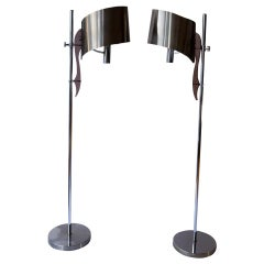 Two Maison Charles Standing Floor Lamp with Stainless Steele Shade 1970s, France