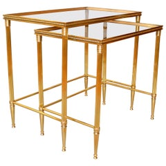 Two Maison Jansen French Brass Nesting Tables