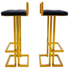 Two Maison Jansen Gold Bar Stools
