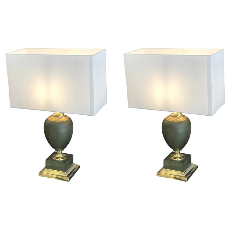 Two Maison Le Dauphin a Pair of Regency Leather and Brass Table Lamps