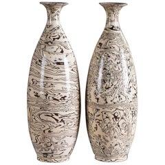 Two Marble Ware Pattern Handmade Modern Pottery Vases Slender Profile