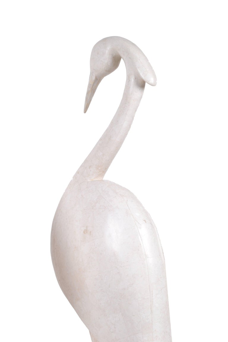 American Two Marquis Collection of Beverly Hills Birds White Ivory Stone and Fossil Stone For Sale