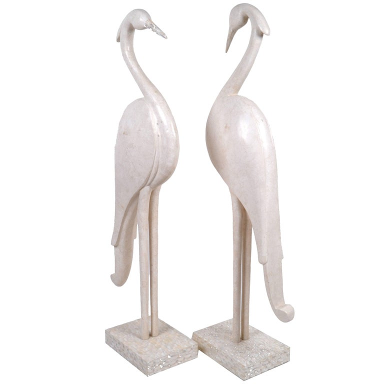 Two Marquis Collection of Beverly Hills Birds White Ivory Stone and Fossil Stone For Sale