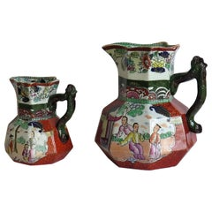 Two Mason's Ironstone Jugs or Pitchers Red Scale Pattern Branch Handles, Ca.1835
