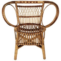 Two Matching Wicker Chairs and Coffee Table from 1960