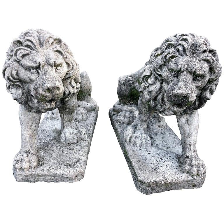 Two Medium Italian Cement Cast Garden Gate Lions, 1950 At
