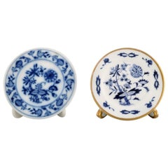 Two Meissen Advertising Plate Holders in Hand Painted Porcelain