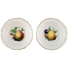 Two Meissen Bowls in Hand Painted Porcelain with Fruit Motifs and Gold Edge