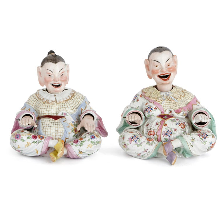 Called 'pagode' (or pagoda) figures, these Meissen Porcelain models are based on the sculptures of deities found in pagoda temples in the Far East. Meissen began to produce these kinds of porcelain figures in the early 18th century, prompted by the