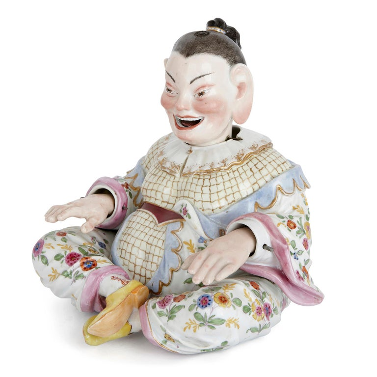Chinoiserie Two Meissen Porcelain Chinese Nodding Pagode Figures For Sale