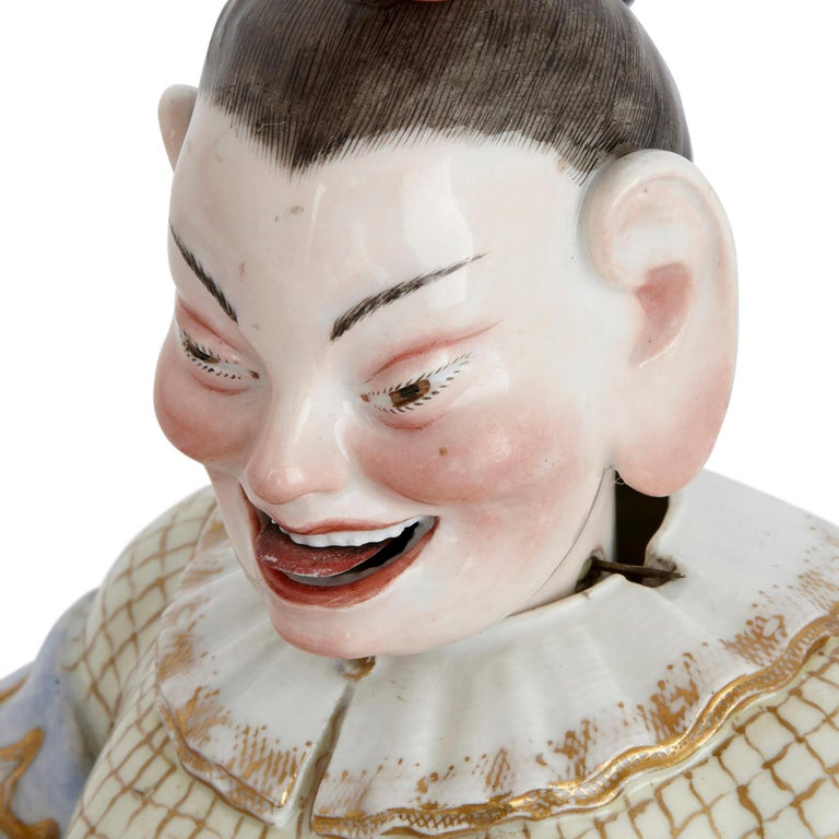Gilt Two Meissen Porcelain Chinese Nodding Pagode Figures For Sale