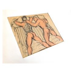 """""""Two Men in Bed,"""" Rare Depiction of Gay Male Intimacy in the 1950s, by de Knight"""