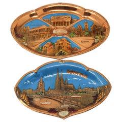 Two Metal Copper Plates Souvenir of Germany
