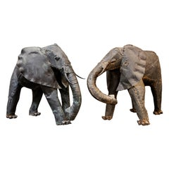 Two Metal Elephant Scultpures