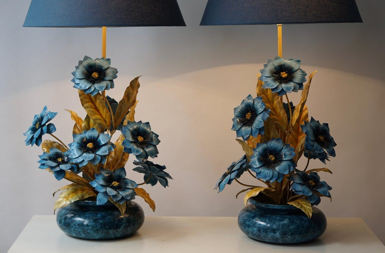 Italian Two Metal Painted Flower Table Lamps For Sale