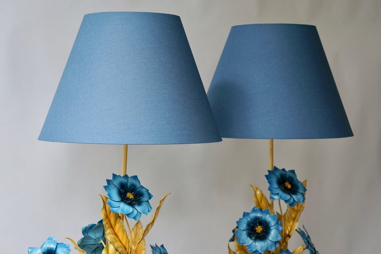 20th Century Two Metal Painted Flower Table Lamps For Sale
