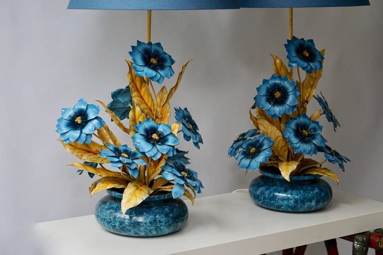 Two Metal Painted Flower Table Lamps For Sale 1