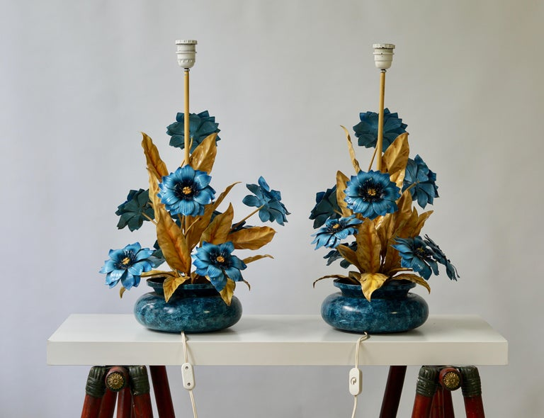 Two Metal Painted Flower Table Lamps For Sale 3