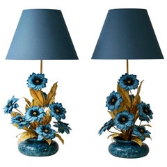 Two Metal Painted Flower Table Lamps