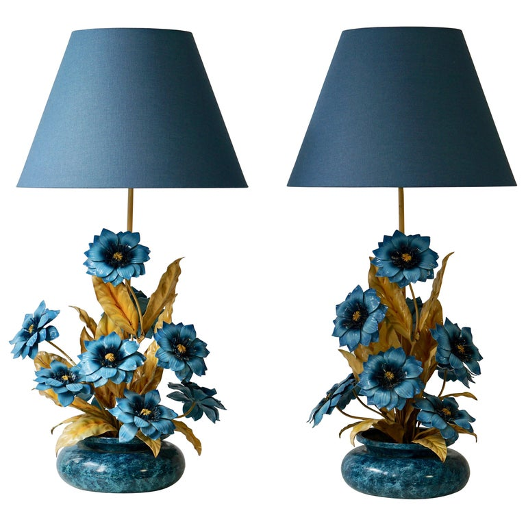 Two Metal Painted Flower Table Lamps For Sale At 1stdibs