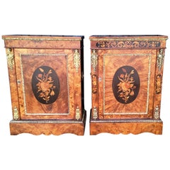 Two Mid-19th Century Metal Mounted Walnut and Marquetry Pier Cabinets