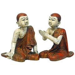 Two Mid-20 Century Thai or Burmese Carved and Painted Figures of Buddhist Monks
