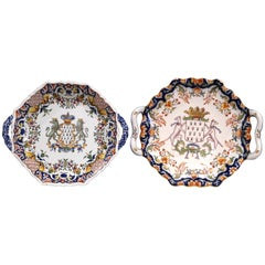 Two Mid-20th Century French Hand-Painted Faience Decorative Plates from Brittany
