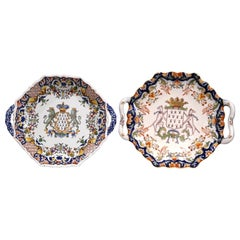 Two Mid-20th Century French Hand Painted Faience Wall Plates from Brittany