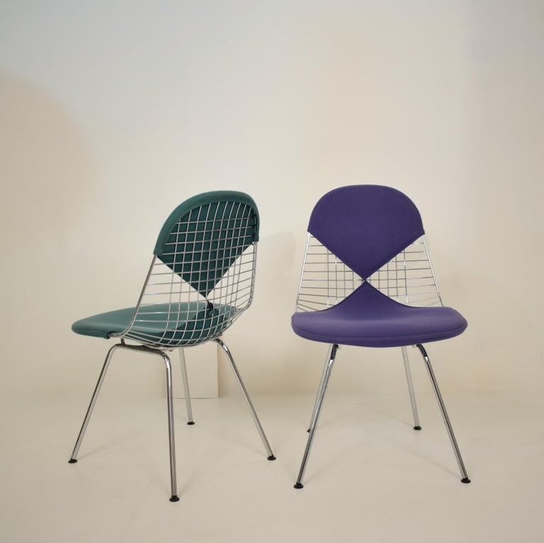 Mid-Century Modern Two Midcentury DKX-2 Wire Bikini Shell Chairs X-Bases by Eames Herman Miller For Sale