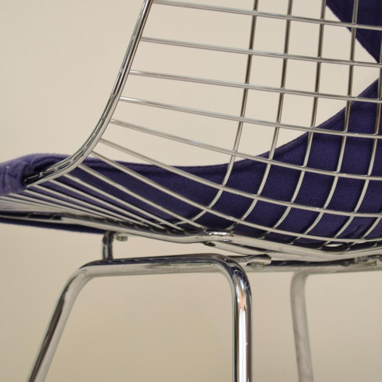 Swiss Two Midcentury DKX-2 Wire Bikini Shell Chairs X-Bases by Eames Herman Miller For Sale