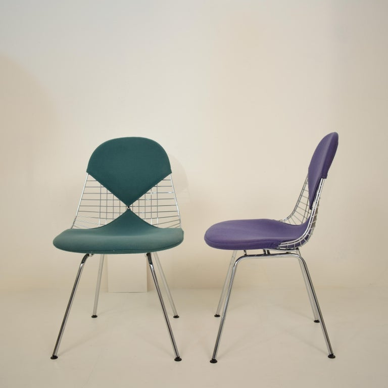Late 20th Century Two Midcentury DKX-2 Wire Bikini Shell Chairs X-Bases by Eames Herman Miller For Sale