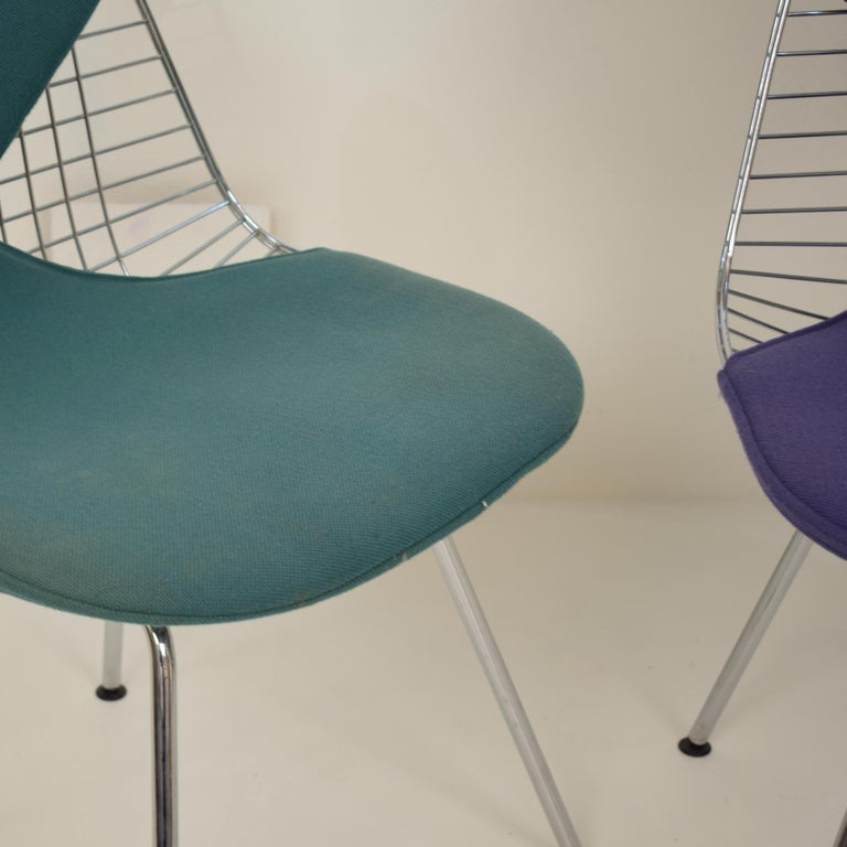 Metal Two Midcentury DKX-2 Wire Bikini Shell Chairs X-Bases by Eames Herman Miller For Sale