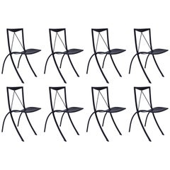 Two Midcentury Folding Dining Chairs Cattelan Italia Black Leather Four Pairs
