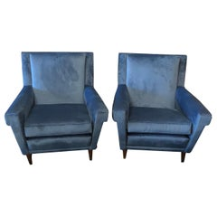 Two Mid-Century Modern Blue Velvet Italian Armchairs in the Manner of Gio Ponti
