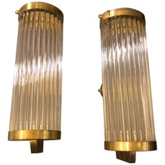 Two Mid-Century Modern Brass and Glass Italian wall Sconces, circa 1970