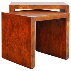 Two Mid-Century Modern Burled Wood Closed Side Nesting Tables by Milo Baughman