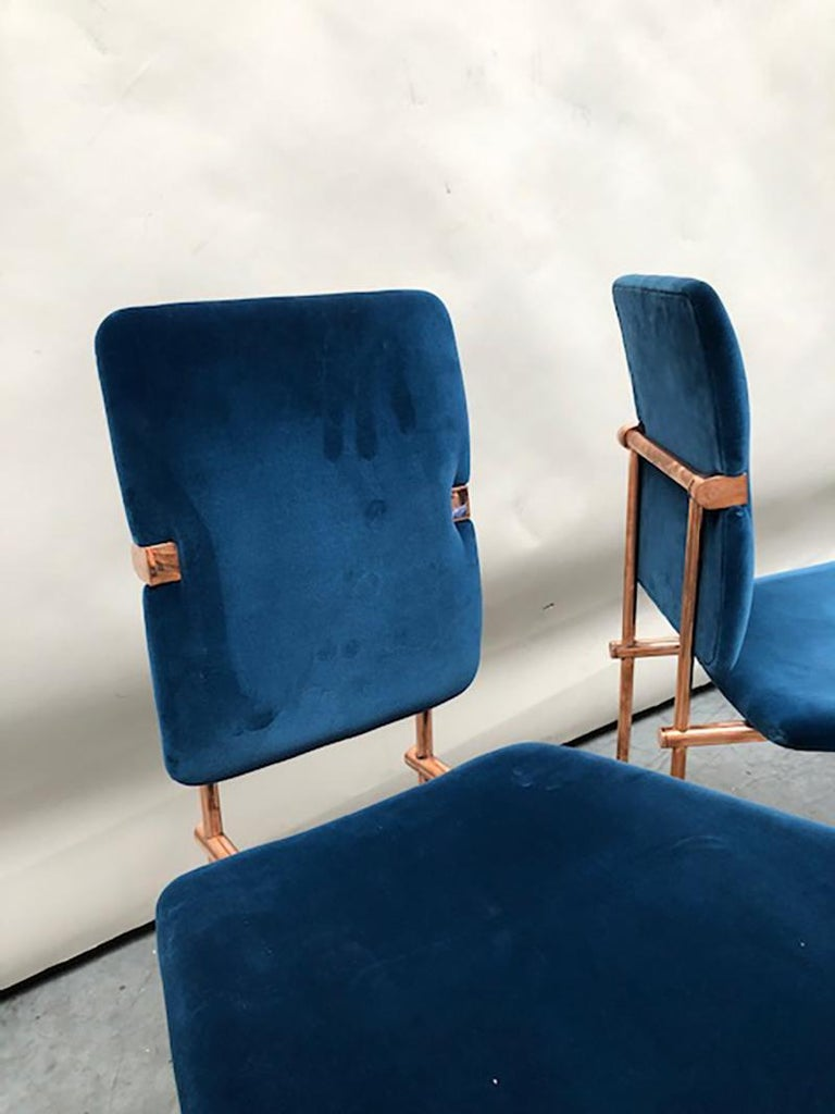 Industrial Two Mid-Century Modern Copper Frame Elegant Limited Chairs Jodie by Peter Ghyczy For Sale