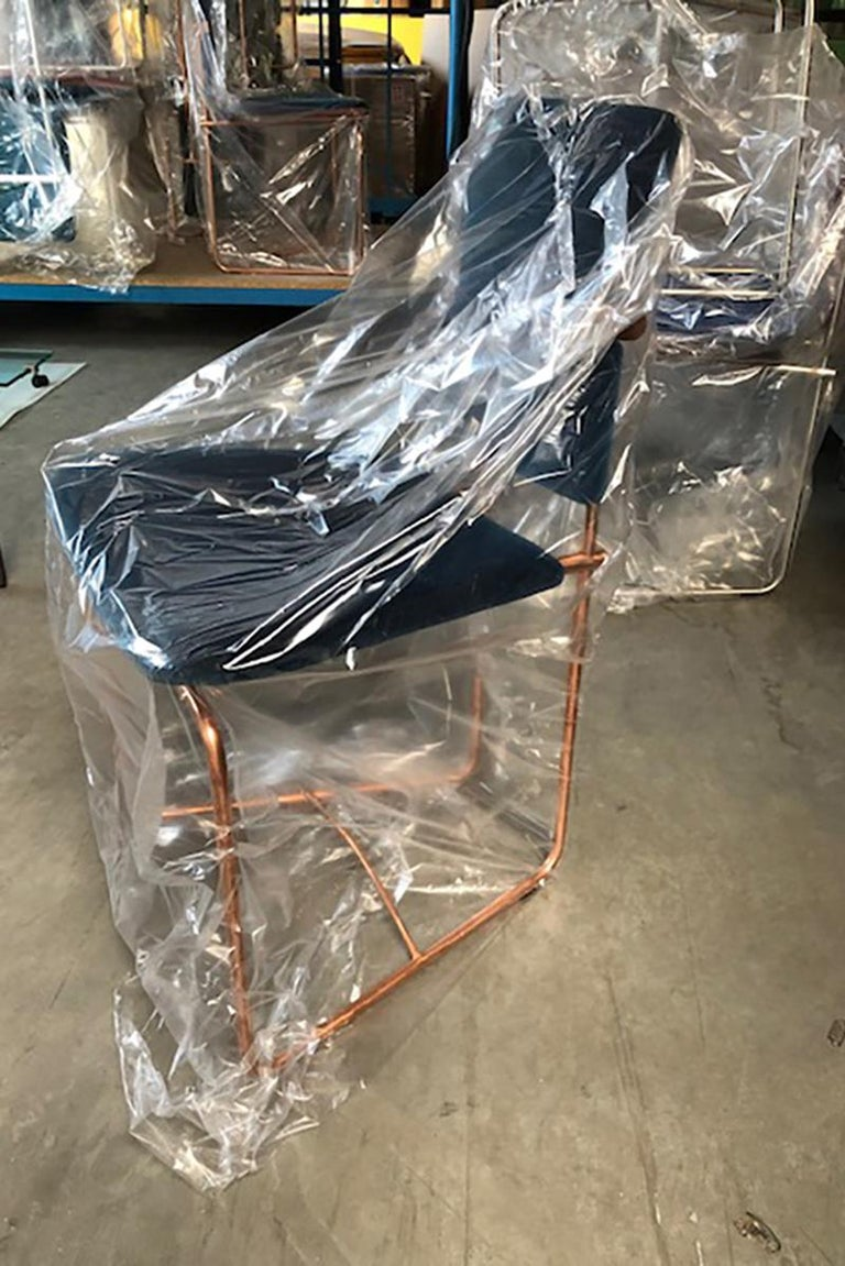 Dutch Two Mid-Century Modern Copper Frame Elegant Limited Chairs Jodie by Peter Ghyczy For Sale