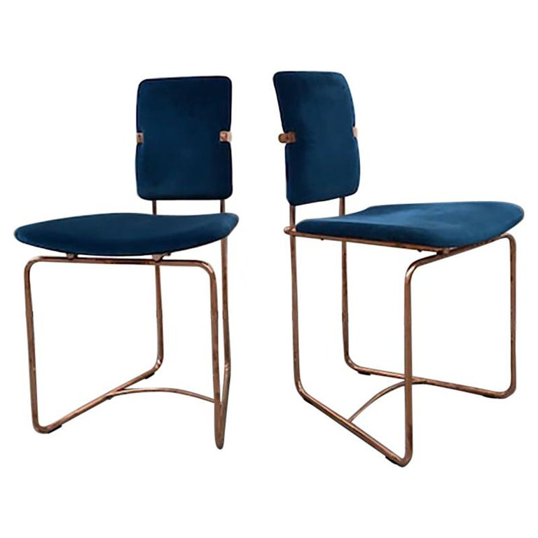 Two Mid-Century Modern Copper Frame Elegant Limited Chairs Jodie by Peter Ghyczy For Sale