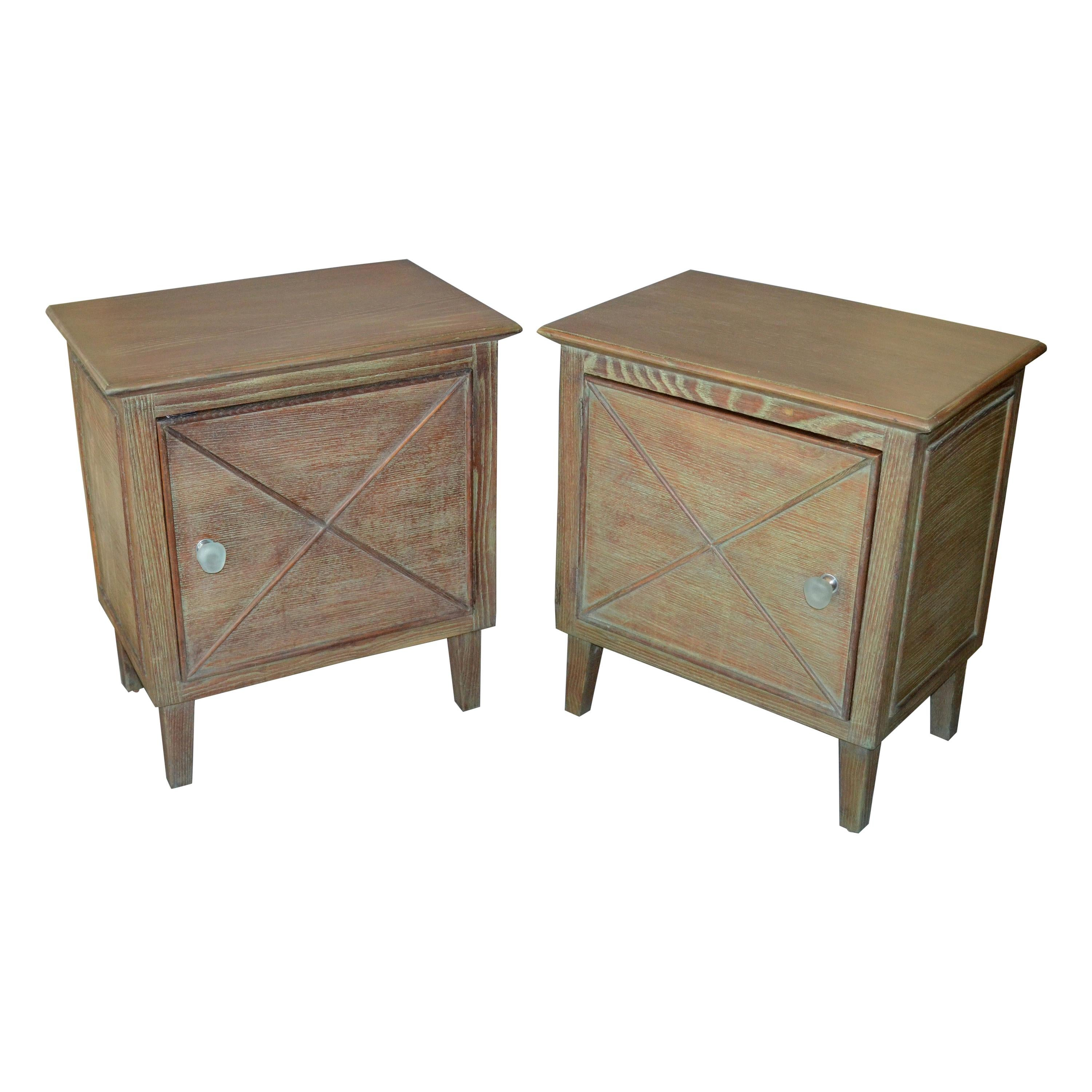 Two Mid-Century Modern Oak Nightstands Bedside Tables Cerused Finish Resin Knobs