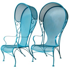 Two Mid-Century Modern Russell Woodard Wrought Iron Canopy Patio Chairs in Blue