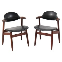 Two Mid-Century Modern Teak Cowhorn Chairs by Tijsseling for Hulmefa, 1960s