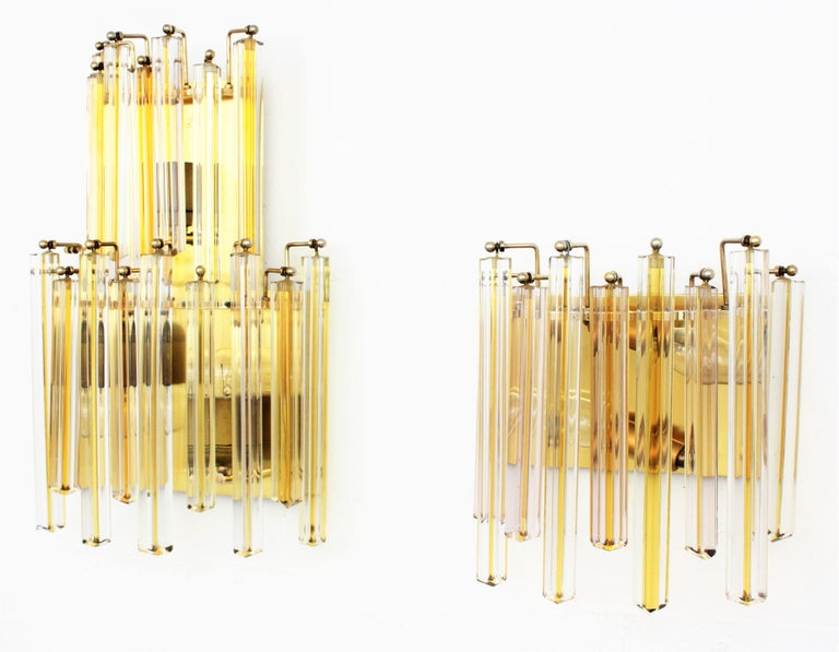 Venini Murano Triedri Wall Lights in Clear and Yellow Glass, Set of Two For Sale 2