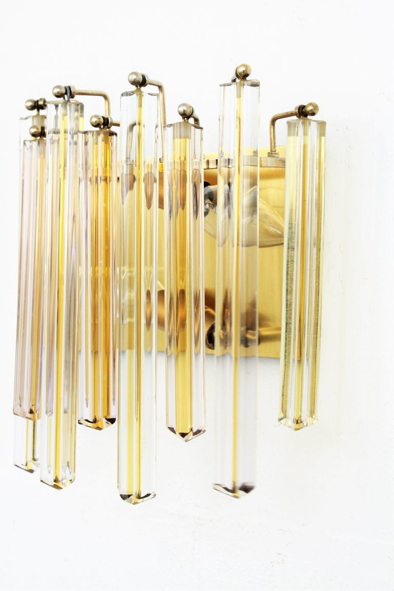 Murano Glass Venini Murano Triedri Wall Lights in Clear and Yellow Glass, Set of Two For Sale
