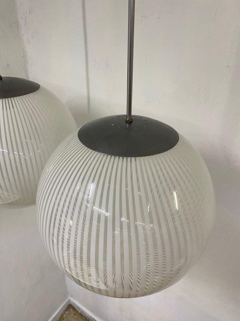 Italian Two Mid-Century Modern Venini,´Tessuto´Chandelier, circa 1970 in Murano Glass For Sale