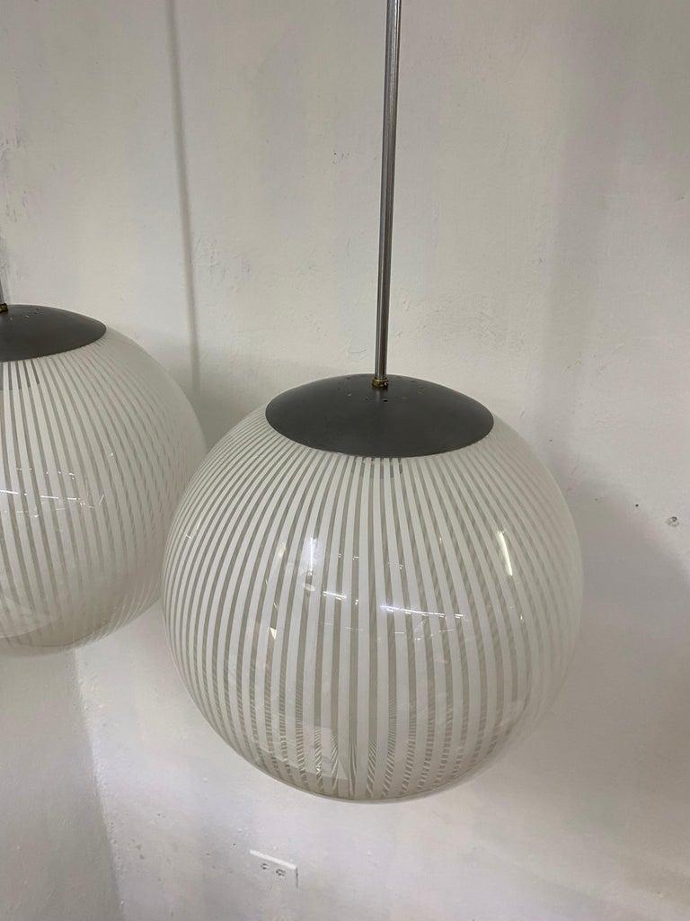 Two Mid-Century Modern Venini,´Tessuto´Chandelier, circa 1970 in Murano Glass In Excellent Condition For Sale In Merida, Yucatan