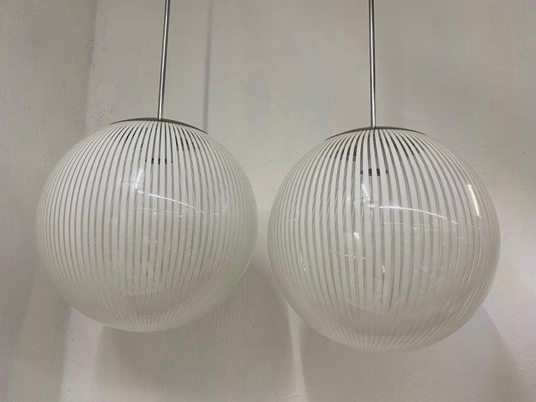 Late 20th Century Two Mid-Century Modern Venini,´Tessuto´Chandelier, circa 1970 in Murano Glass For Sale