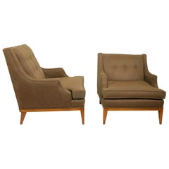 Two Mid Century  Mr. & Mrs. Club Lounge Chairs Attributed to Gimson Slater