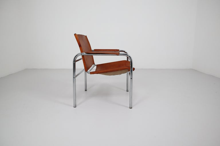 20th Century Two Midcentury Tubular Armchairs in Patinated Cognac Leather, France, 1960s For Sale