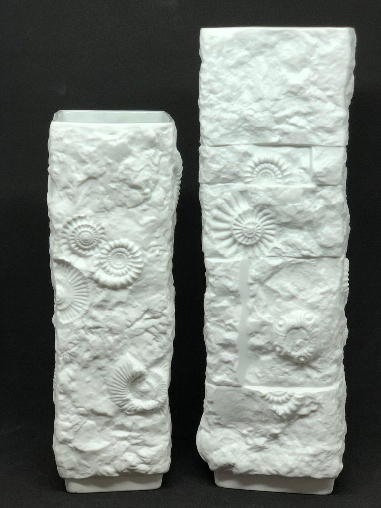 Mid-Century Modern Two Midcentury Bisque Fossil Vases by Kaiser Porcelain, Germany, 1970s For Sale